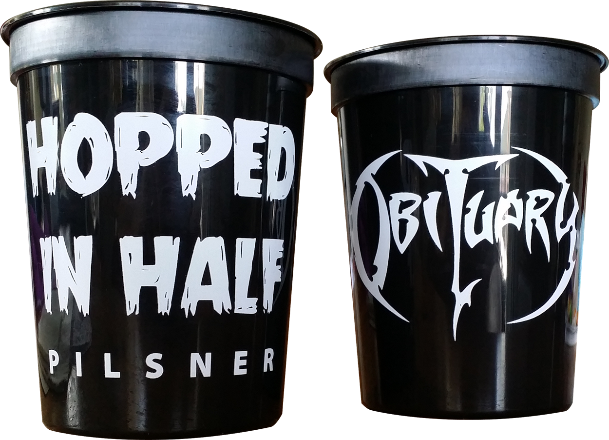 Hopped In Half Pilsner - Black Plastic 16oz Cup - 6 PACK